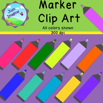 Marker Clipart - 12  colors - 300 dpi - *Commercial use OK*