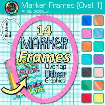 Marker Oval Frames Clip Art {Page Borders & Frames for Worksheets & Resources} 1