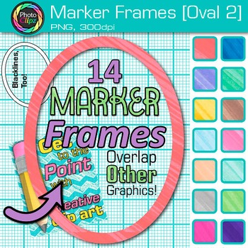 Marker Oval Frames Clip Art {Page Borders & Frames for Worksheets & Resources} 2