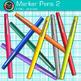 Rainbow Marker Pens Clip Art {Back to School Supplies for Classroom Decor} 2
