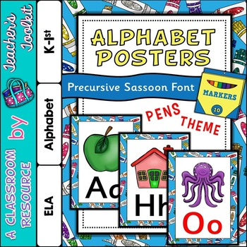 Marker Pen Themed Alphabet Posters Frieze {UK Teaching Resource}