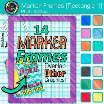 Marker Rectangle Frames Clip Art {Page Borders & Frames for Worksheets} 1