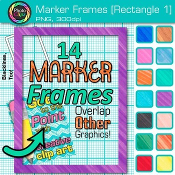 Marker Rectangle Frames Clip Art {Page Borders & Frames for Worksheets} 1