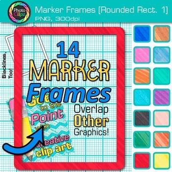 Marker Round Rectangle Frames Clip Art {Page Borders & Frames for Worksheets} 1