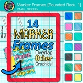 Marker Round Rectangle Frames Clip Art {Page Borders & Frames for Worksheets} 1