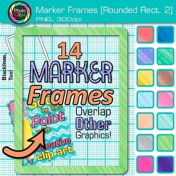 Marker Round Rectangle Frames Clip Art {Page Borders & Frames for Worksheets} 2