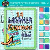 Marker Round Rectangle Frames Clip Art {Page Borders & Frames for Worksheets} 2