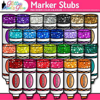 Marker Stubs Clip Art {Rainbow Glitter Back to School Supplies for Brag Tags}