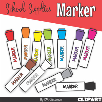 Marker in Rainbow Colors - Clip Art