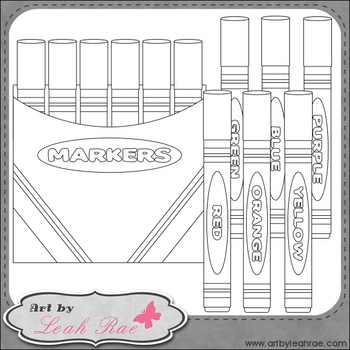 Markers 1 - Art by Leah Rae Clip Art & Line Art / Digital Stamps