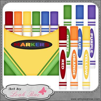 Markers 1 - Art by Leah Rae Clip Art & Line Art / Digital Stamps