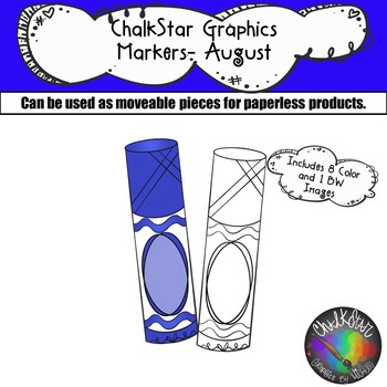 Markers August Clip Art –Chalkstar Graphics