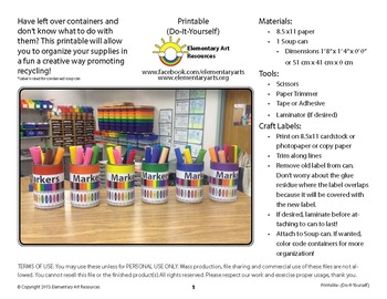 Markers Labeling Cards for Bins or Labels & Classroom Organization