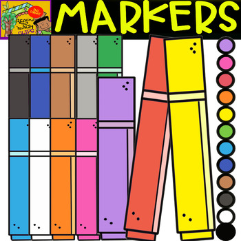 Markers - School Supplies - Cliparts set - 12 Items