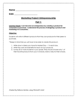 Market Day Packet