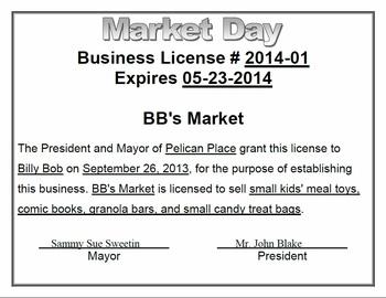 Market Day Starter Pack for Classroom Communities