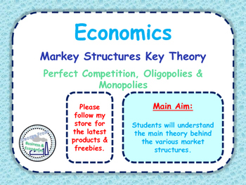 Market Structures Key Theory: Perfect Competition, Oligopoly & Monopolies