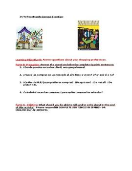 Market and Shopping Vocabualry Worksheet (Spanish)