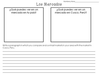 Market in Cusco Peru PowerPoint and Spanish Writing Activity