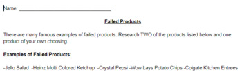 Marketing Activity: Failed Products Research Activity w/Answer Key