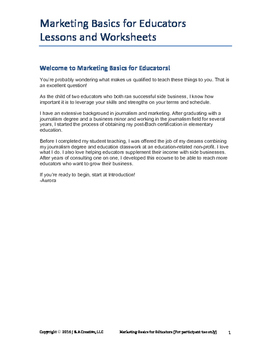 Marketing Basics for Educators  Lessons and Worksheets