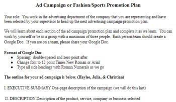 Marketing Business Ad Campaign Marketing Proposal Cte Pbl Project