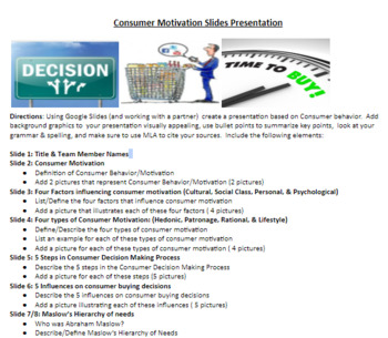 Marketing/Business Consumer Motivation Presentation Project Word & PDF file