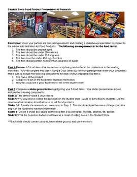 Marketing/Business Student Store Food Research & Slides CTE PBL Project