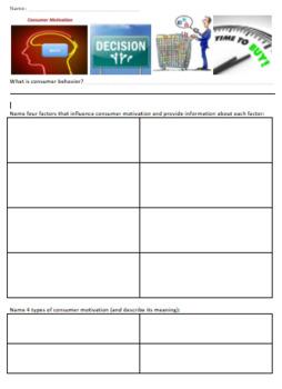 Marketing Consumer Motivation Research/Graphic Organizer Consumer Behavior