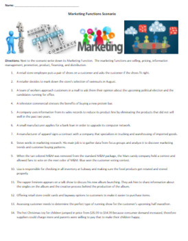 Marketing Functions Scenarios Activity with Answer Key Small Group Activity