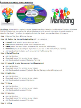 Marketing Functions Slides Presentation Project Based Learning w/Rubric