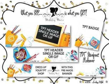 Marketing Maven BRIGHT DAY SHOP MAKEOVER: TPT Banner, Badge, & Header Images