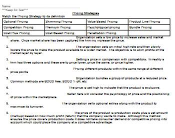 Marketing Mix Pricing Strategy Match up Definition Activity w/Answer Key