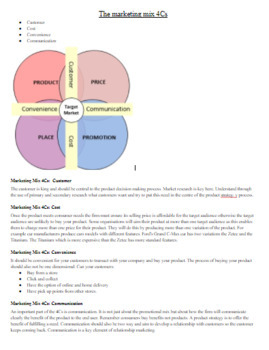 Marketing Mix the 4 C's: Notes & Graphic Organizer with Answer Key