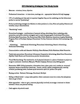 Marketing Strategies Course outline/Final study guide