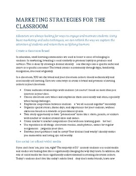 Marketing Strategies for the Classroom