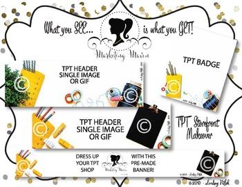 Marketing VINTAGE SCHOOLHOUSE SHOP MAKEOVER: TPT Banner, Badge, & Header Images