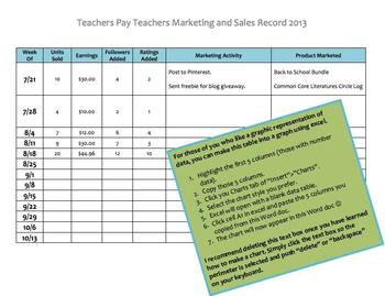 Marketing and Sales Goals and Records for TPT Sellers