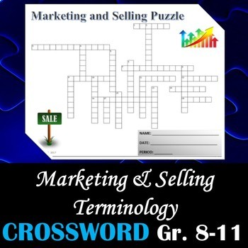Marketing and Selling Terminology - Crossword Puzzle Activity Worksheet