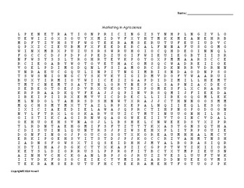 Marketing in Agriscience Word Search for Agriculture Science Students