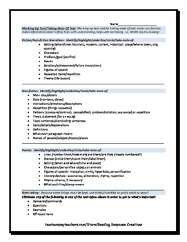 Close Reading Guide for Marking-Up & Taking-Note-Of  Fiction/ Non-fiction Texts