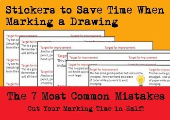Marking a Drawing with a Target - Stickers to Save Time when Marking & Assessing