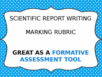 Marking rubric scientific report writing