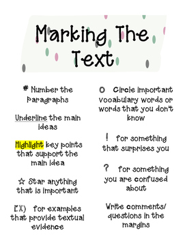 Marking the Text Bundle- Useful for any content area