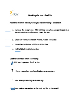 Marking the Text Checklist