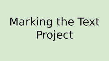 Marking the Text Project