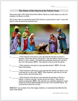 Marks of the Catholic Church in the Nativity Scene: FREE Activity