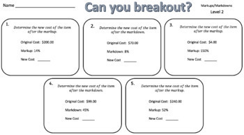 Markup & Markdowns – Two Breakout Activities!