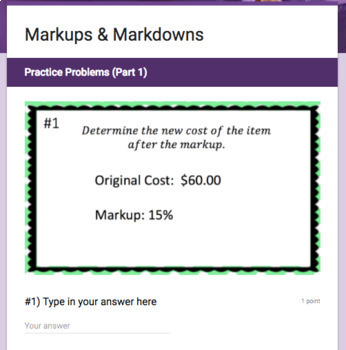 Markups & Markdowns - Perfect for Google Classroom