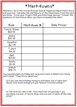 Markups & Markdowns INB Foldables & Activities